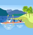 canoe friends in minimalist style cartoon flat vector image