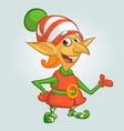 cartoon of happy christmas elf vector image