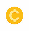 cent centavo currency symbol on gold coin vector image vector image