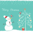 Christmas winter card with snowman and bullfinch vector image vector image