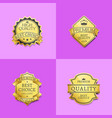 collection premium quality best gold labels icons vector image vector image