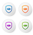 color shield and eye icon isolated on white vector image vector image
