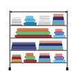colorful silhouette of rack with stack of towels vector image