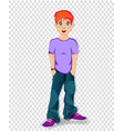 cute cartoon character of teenager schoolboy with vector image