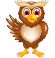 cute owl cartoon posing with smile and waving vector image vector image