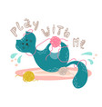 cute playful cat with the ball of yarn in cartoon vector image vector image