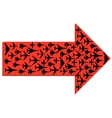 Directional arrow with the airplanes inside vector image vector image