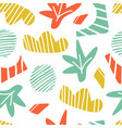 doodle seamless pattern clouds plants and stripe vector image