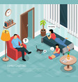 family home chatting isometric poster vector image