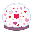 glass paperweight with a romantic motif of hearts vector image vector image