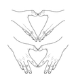 Graphic hands show heart vector image