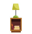 green lamp stands on wooden bedside table full of vector image