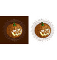 halloween smiling retro pumpkin with fine detailed vector image
