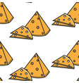 holland cheese triangle and slices seamless vector image