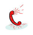 hotline customer service icon with red ringing vector image vector image