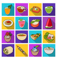 juice pizza berries are vegetarian dishes vector image vector image