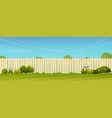 lawn and fence hedge green trees bushes grass vector image vector image