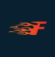 letter f flame logo speed logo design concept vector image vector image