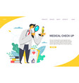 medical check up website landing page vector image