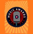 music awards poster contest emblem with vector image vector image