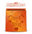 orange package with inscription - trick or treat vector image vector image