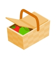 Picnic basket icon isometric 3d style vector image vector image