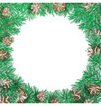 pine branch and cone round frame vector image vector image