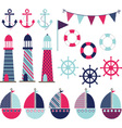 Pink Blue Nautical vector image vector image