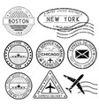 postmarks and travel stamps usa cities vector image vector image