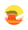 Round-shaped icon of sunny summer landscape with