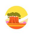 round-shaped icon sunny summer landscape