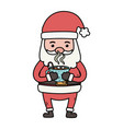 santa holding chocolate cup decoration merry vector image vector image