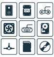 set of 9 computer hardware icons includes audio vector image vector image