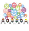 Set of people with computer icons in line style vector image vector image