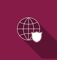 shield with world globe icon isolated with long vector image vector image