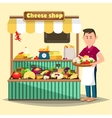 Showcase with man selling cheese products vector image vector image