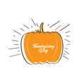 sketch of a pumpkin thanksgiving day label vector image vector image