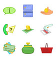 stock of money icons set cartoon style vector image vector image