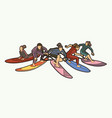surfing sport surfer female players action cartoon vector image