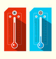 thermometer icons hot and cold weather symbols vector image vector image