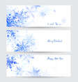 three headers with abstract blue snowflakes vector image vector image