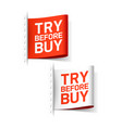 try before buy labels vector image vector image