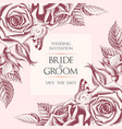 wedding invitation with hand drawn roses vector image vector image