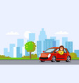 woman rides in red car in city vector image
