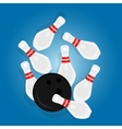 bowling ball strike pin hit sport object drawing vector image