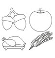 4 line art black and white harvest elements vector image