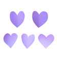 a set of purple paper hearts vector image vector image
