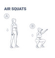 air squats female exercise home workout guidance vector image vector image