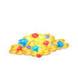 ancient shiny precious treasure with gems in heap vector image