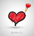 Art heart drawing with pencil vector image